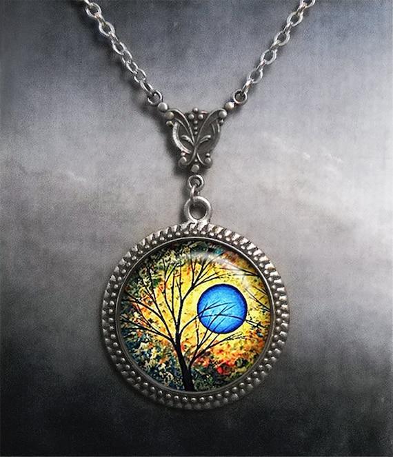 4ca65f27fdf39 Summer Blue Moon necklace, Art Nouveau Blue moon jewelry tree jewelry full  moon jewelry blue moon art necklace