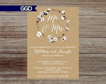 Rustic Cotton Wedding Reception Invitation, Farmhouse Wedding Reception, Reception  Only Invitation Printed Invitations Or Digital File