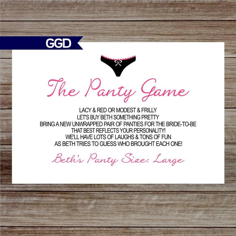The Panty Game Poem for Lingerie Shower Panty Game card Hens  2d6507ba73d