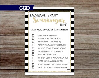 Bachelorette Party Scavenger Hunt, Bachelorette Party Game, black and gold, hens night party, instant download-Print Your Own