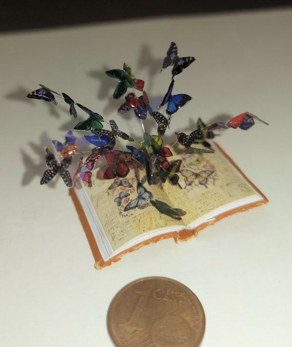 Wandbild mit Schmetterlingen Miniatur 1:12 Puppenhaus