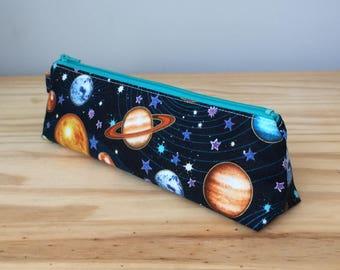 Slim Pencil Case, Space, Space Pencil Pouch, Space Pencil Bag, Planet Pencil Case, Planet Pencil Bag, Cosmic Pencil Pouch
