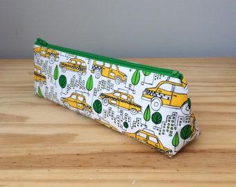 Slim Pencil Case, Taxi Cabs, Taxi Can Pencil Case, Taxi Pencil Pouch, Yellow Cab Pencil Pouch, Yellow Cab Pencil Bag, Taxi Pencil Bag