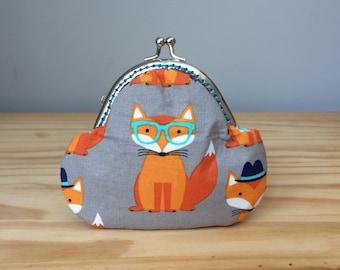 Snap Coin Purse, Hipster Fox, Fox Purse, Fox Coin Purse, Fox Bag, Fox in Glasses, Orange Fox