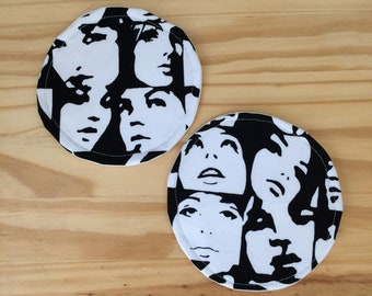 Fabric Coasters, Famous Faces, Face Coasters, Black and White Coasters, Black and White Face Coasters, Set of Two