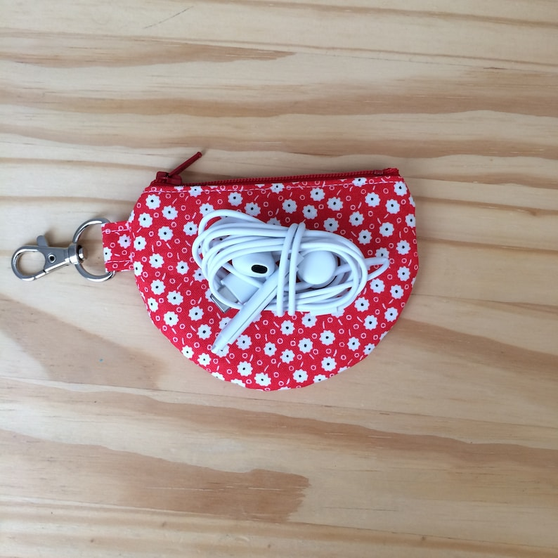 Floral Pouch Earbud Pouch Change Pouch White Flowers on Red Small White Flowers Tiny Flowers Flower Earbud Pouch Mini Pouch