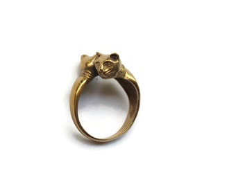 Vintage Bronze Cats Ring