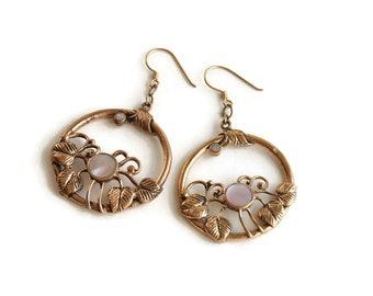 Vintage Boho Bronze & Shell Floral Statement Earrings