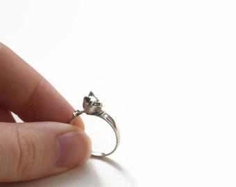 Cat Ring- Vintage Sterling Silver