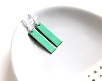 164315284 Enamel dangle earrings- bright green rectangular geometric jewellery gift