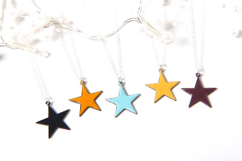 Star Necklace Enamelled in any colour  celestial star in image 0