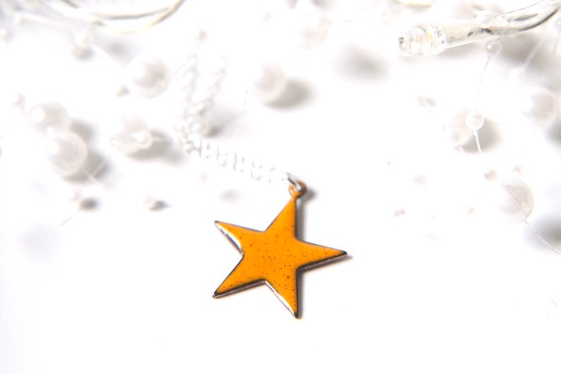 Yellow Star Necklace Enamelled in any colour with sterling image 0