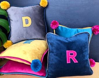 Personalised Luxury Velvet Initial Cushion Cover
