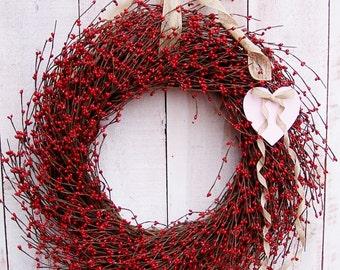 Valentine Wreath-Spring Wreath-Valentine Door Wreath-Summer Wreath-Love is in the Air-Front Door Wreath-RUSTIC HEART Red Berry Door Wreath