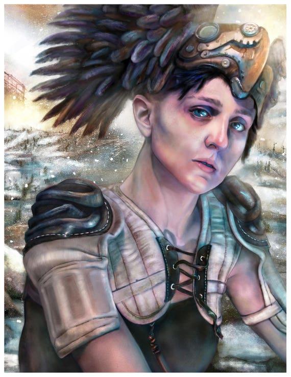 Valkyrie Winter Art Print By Mandem Mythpunk Steampunk Cyberpunk Dieselpunk Fantasy Art