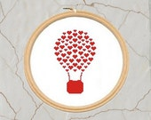 Love Balloon cross stitch pattern, PDF, Instant download