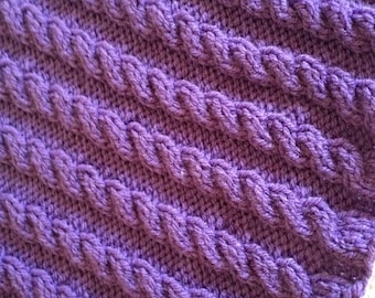 Chunky Cabled Blanket, Knitting Pattern, PDF, Instant download