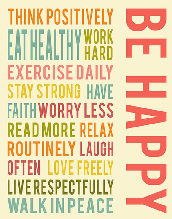 Be Happy Positive Life Quotes Typography Quote Inspirational Etsy