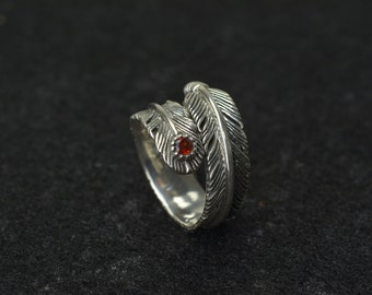 feather adjustable ring,sterling silver