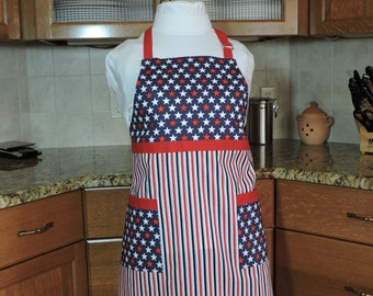 Stars and Stripes  - patriotic red, white, and blue full apron
