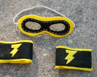 Superhero Mask and Cuffs-Superhero Accessory-Customize- Superhero Accessory-Superhero Dress Up Party