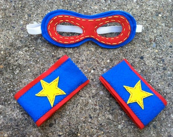 Kids Christmas Present- Superhero Mask and Cuff set -Customize- Superhero Costume-Red Blue Star-Superhero Dress Up Party