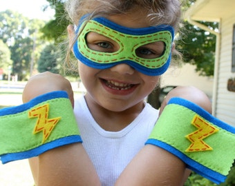 Superhero Mask and Cuffs-Customize-Christmas Gift- Superhero Accessory-Superhero Dress Up Party