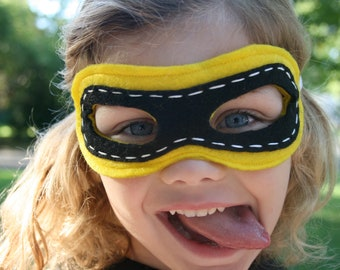 Superhero Mask-Customize- Superhero Accessory- Yellow Black -Superhero Dress Up Party