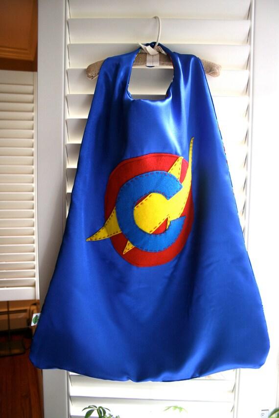 Cape de super-héros bleu-parfait Noël cadeau - personnaliser personnaliser - choisissez l'initiale - Costume de fête d'anniversaire super héros