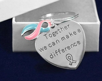 Pink & Blue Ribbon Key Chain Awareness Support Pregnancy and Infant Loss SIDS