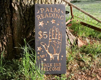 Palm Reading Carved Wooden Sign - Palmistry, Psychic, Magic, Fortune Teller - Engraved Wood Wall Decor - Oddities Dark Creepy Weird Vintage