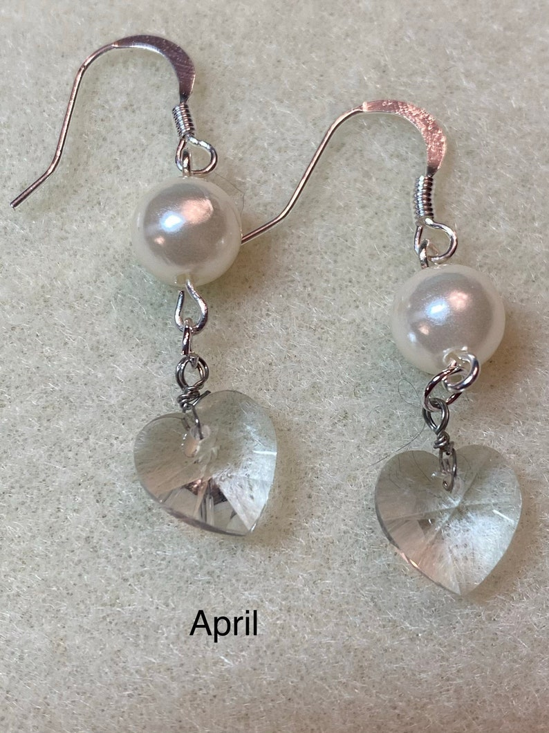 Crystal Heart Pearl Earrings