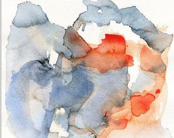 Art, Original watercolor abstract painting art indigo, blue and orange original art wall art expressionism painting