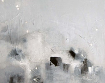 Art original modern art abstract painting Titled: Steam Walk Carefully by Victoria Kloch, gray, black, silver leaf foil