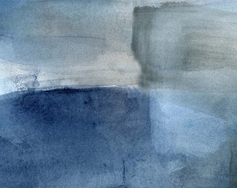 Oversized giclee print watercolor abstract painting by Victoria Kloch neutral, blue and gray wall art contemporary abstract