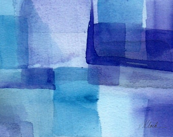 "Art small watercolor abstract painting,  'A Little of This' by Victoria Kloch, purple, blue,  5"" x 7"""