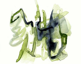 Large Art, Giclee print, Abstract Art, Modern Art, Fine Art Print, green, indigo, Large wall art, colorful art by Victoria Kloch