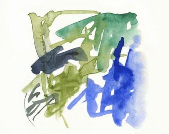 Large Art, Giclee print, Abstract Art, Modern Art, Fine Art Print, green, blue, indigo, Large wall art, colorful art by Victoria Kloch