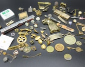 Lot of Junk Drawer COLLECTIBLES Antique to Newer Variety of Items Pocket Knives Jewelry Fraternal Pins And More LQQK