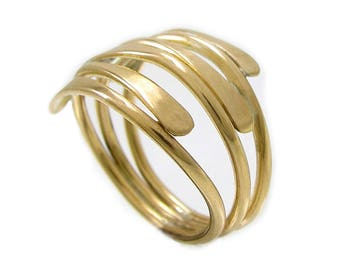 Gold Tapered Ring - Striations Ring - Gold Wire Ring - Brass Statement Ring - Bold Yellow Gold Ring - Tapered Ring Shank - Smooth Wire Ring
