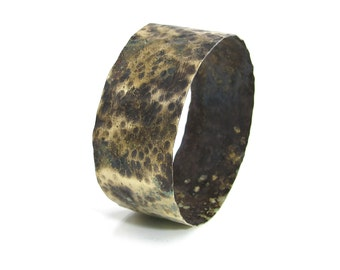 Rustic Dark Brass Bangle Bracelet - Aged Brass Hammered Cuff Bangle Bracelet - Oxidized Yellow Brass Bangle - Country Style Brass Bangle