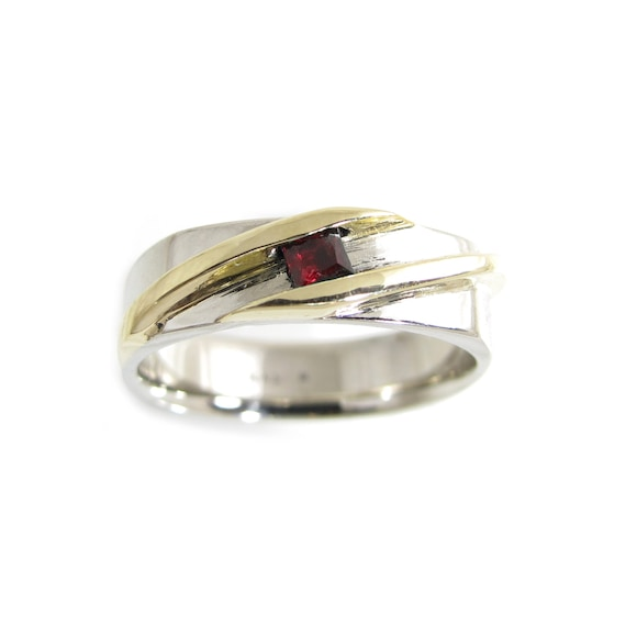 Gold Ruby Mens Ring Two Tone Gold Ring Mans Ruby Ring Etsy