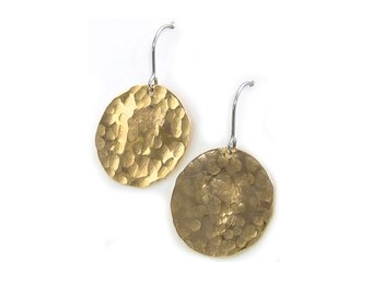 Hammered Brass Earrings - Hammered Disk Earrings - Gold Dangle Earrings - Yellow Brass Dangle - Round Gold Earrings - Textured Gold Earrings