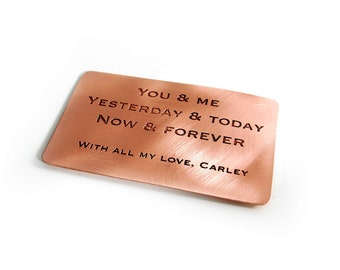 Personalized Quote Wallet Insert - Purse Insert - Custom Wallet Insert - Copper Wallet Insert - Silver Wallet Insert - Brass Wallet Insert