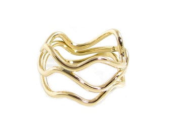 Gold Wave Ring - Unique Wire Ring - Yellow Brass Wave Ring - Curvy Ring - Wide Wire Ring - Faux Gold Curves Ring- Contemporary Gold Rings