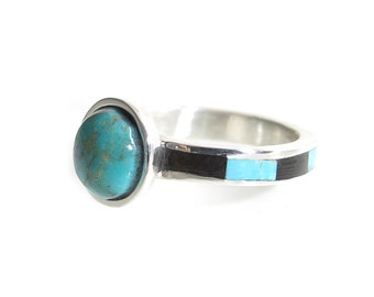 Turquoise and Wooden Inlaid Ring - Brown Blue Stone Ring - Inlay Wood Ring with Turquoise - Wood Ring - Genuine Turquoise Ring - Cabochon