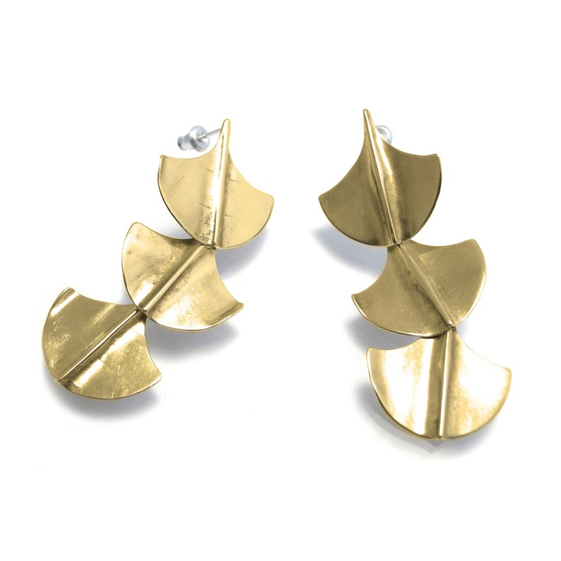 16ed2c577 Gold Cascade Earrings with Sterling Silver Posts Long Brass   Etsy
