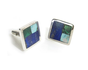 Turquoise Inlay Cufflinks - Turquoise, Malachite and Lapis Cufflinks - Men's Southwest Cufflinks - Custom Cufflinks - Square Cuff links -Man