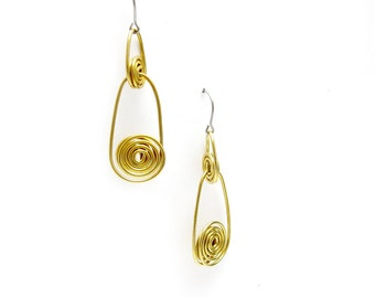 Long Gold Drop Earrings - Faux Gold Earrings - Yellow Brass Earrings - Twisted Gold Earrings - Gold Dangle Earrings - Gold Spiral Earrings