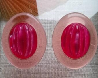 Dominique Denaive Paris Vintage Pink Earclips
